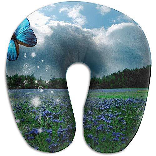 Lavendel Schmetterling Lila Print U-förmigen Kissen Memory Foam Nackenkissen für Reisen und Linderung von Nackenschmerzen Komfortable Super Soft Cervical Kissen