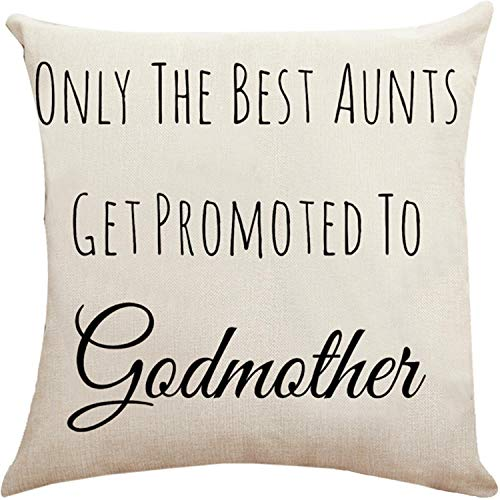Munzong Set of 2 Only The Best Aunts Get Promoted to Godmother Throw Pillow Covers 18 x 18 Inch, Cotton Linen Double Side Birthday Gift Pillowcases, Square Cushion Covers for Bed Sofa Home Room Decor