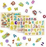 THE TWIDDLERS - Set de 4 Puzzles de Madera Juegos Educativos/Rompecabezas para Niños de 3 años/Multicolor Ideal para Aprendizaje Alfabeto, Números y Medios de Transporte