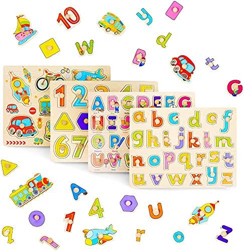 THE TWIDDLERS 4 Puzzles en Bois: Alphabet, Chiffres & Forme, Véhicules - Jouet Éducatif pour Bébés, Tout-Petits et Enfants