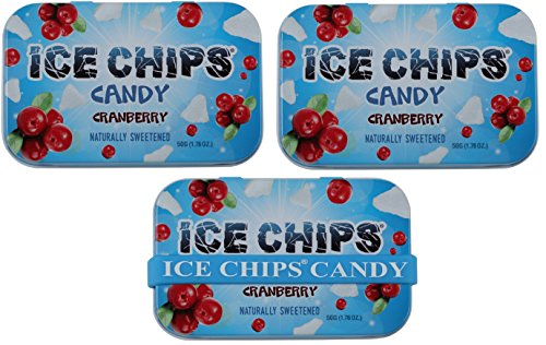 ICE CHIPS Xylitol Candy Tins (Cranberry, 3 Pack) - Includes BAND as shown