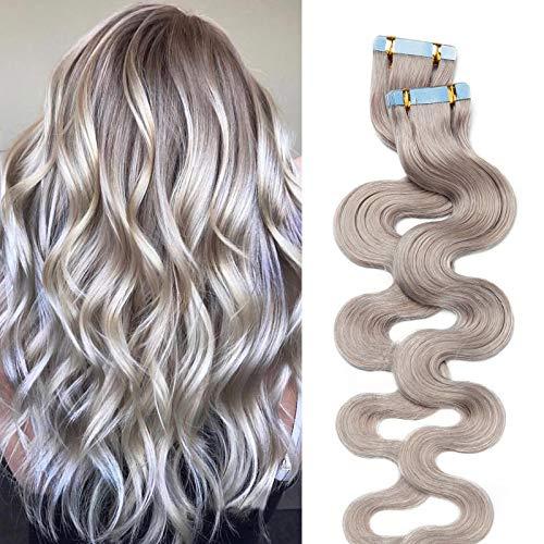 Silk-co Extension Capelli Veri Biadesivo Ricci 100% Remy Human Hair 20 Fasce 40g/Set Tape in Extension Body Wave 35cm - Grigio