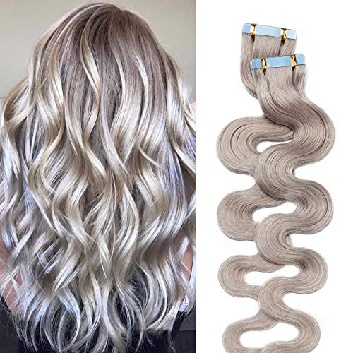 (30-60cm) Extension Capelli Veri Biadesivo Ricci #Grigio Remy Human Hair 20 Fasce 40g/Set Tape in Extension Body Wave 30cm