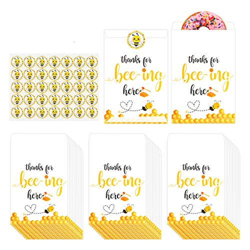 50 Pack Honey Bee Party Candy Favor Bags with Bee Stickers,Thank you for beeing here Bumble Bee Party Decoration,Bees Goody Gift Treat Bags for Bee Theme Birthday Baby Shower