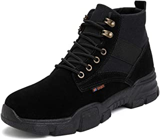 CHENDX Shoes, Classic Casual Ankle Boot for Men Hiking Work Boots Faux Suede & Canvas Split Joint Lace up Anti-Skid Round Toe Rubber Sole (Color : Black, Size : 40 EU)