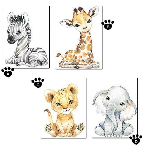 Ciujoy 4er Set Bilder Babyzimmer Deko Junge Mädchen -DIN A4 Poster Kinderzimmer Baby-Giraffe Elefant Löwe Kinderbilder Babybilder Wandbilder