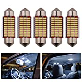 AREOUT 5pcs C5w LED Ampoule dôme de voiture, 39mm 3014 SMD Feston sans erreur Canbus blanc 6000K Lampes de plaque d'immatriculation
