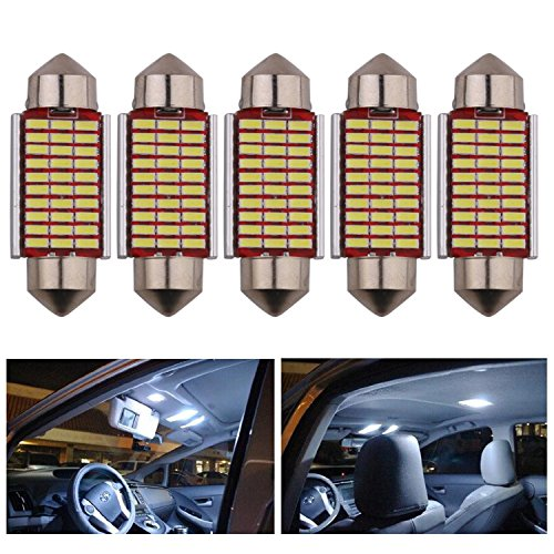 AREOUT 5pcs C5w LED Bombilla de la bóveda del coche, 39mm 3014 SMD Canbus Error Free Festoon blanco 6000K Luces de la placa de la licencia de la puerta del coche