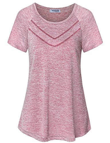 Vindery Yoga Tunic Tops for Women, Ladies Activewear Moisture Wicking Sport Shirts Climbing Tennis Shirt Comfortable Gym Exercise Clothes Workout Short Sleeve Tees, Red M