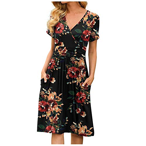 BOIYI Women's Vintage Floral Summer Dress V Neck Short Sleeve Casual Midi Dress Chic Elegante Ladies Sundress Loose Dot Printed Maxi Dress with Pocket(Grey,XXL)