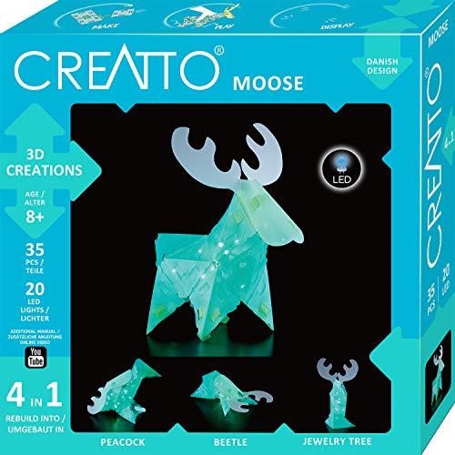 Kosmos CREATTO Elch 3D-Leuchtfiguren entwerfen, 3D-Puzzle für Elch, Pfau, gestalte kreative Kinderzimmer-Deko, 36 Steckteile, inkl. 20-tlg. LED-Lichterkette, für Kinder und Erwachsene