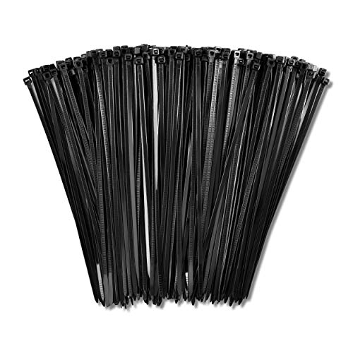 8' Zip Ties (1,000 Pack), 40lb Strength Black Nylon Cable Wire Ties, By Bolt Dropper.