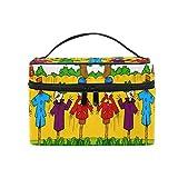 Ahomy - Bolsas de maquillaje con asa, diseño de espantapájaros en el jardín, impermeable, bolsa de almacenamiento para las mujeres