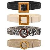 Set of 4 Straw Woven Elastic Stretch Waist Belts for Women, Fashion Boho Ladies Braided Skinny Dress Belt by WHIPPY