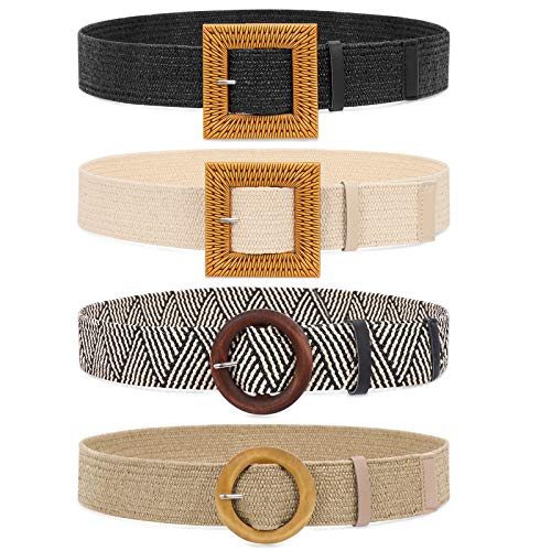 Set of 4 Straw Woven Elastic Stretch Waist Belts for Women, Fashion Boho Ladies Braided Skinny Dress Belt by WHIPPY