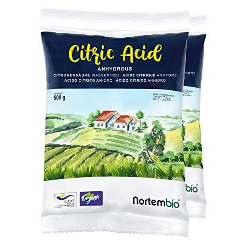 Nortembio Acide Citrique 1 kg (2x500g). Poudre Anhydre, 100% Pure. Pour la Production Biologique. E-Book Inclus.