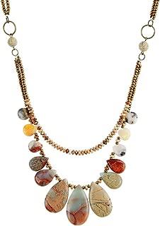 Jasper Teardrop Layered Choker Necklace Seed Beads