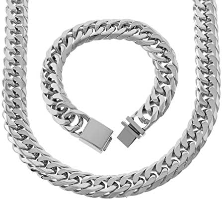 SPARKLE XOXO Solid Stainless Steel 18mm Miami Cuban Link Chain and Bracelet Set 24 Inch product image
