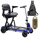 ZooMe Flex Ultra Compact Folding Travel 4 Wheel Scooter, Blue & Free 130 dB Gold Personal Safety Alarm/Siren! + Medical Utility Black Bag!