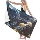 AIMILUX Toalla de Playa,Medusas en el Acuario de Aguas Profundas La Vida de los Animales Marinos Tema del mar,Toallas de Baño Toallas de Acampada Piscina Natación Playa Ducha
