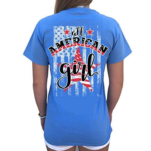 Southern Attitude All American Girl Women's T-Shirt (X-Large, Carolina Blue)