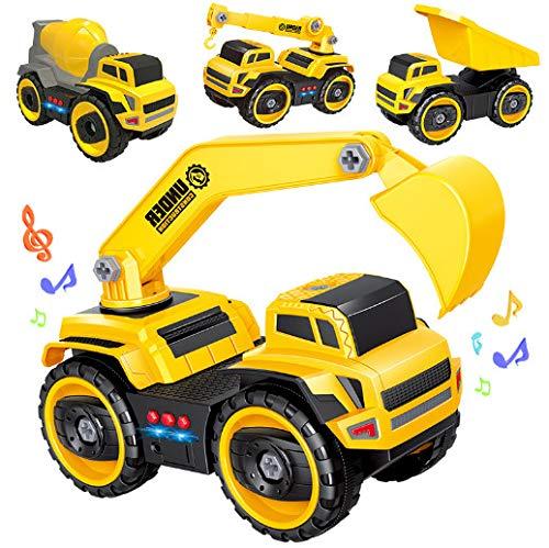 LIUSHIWEINBL Spielzeugauto-Puzzlespieltechnikautomusik der Kinder, die elektrisches DIY-Zerlegungsautomodell-Jungenspielzeug beleuchtet
