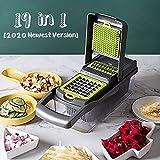 KKCITE 19 in 1 Gemüseschneider Küchegeräte, Gemüsehobel Zwiebel Zerkleiner, Edelstahl Klingen, Obst und Gemüseschneider Zwiebelschneider, Ideal zum Hobeln von Obst und Gemüse (HANDSCHUH)