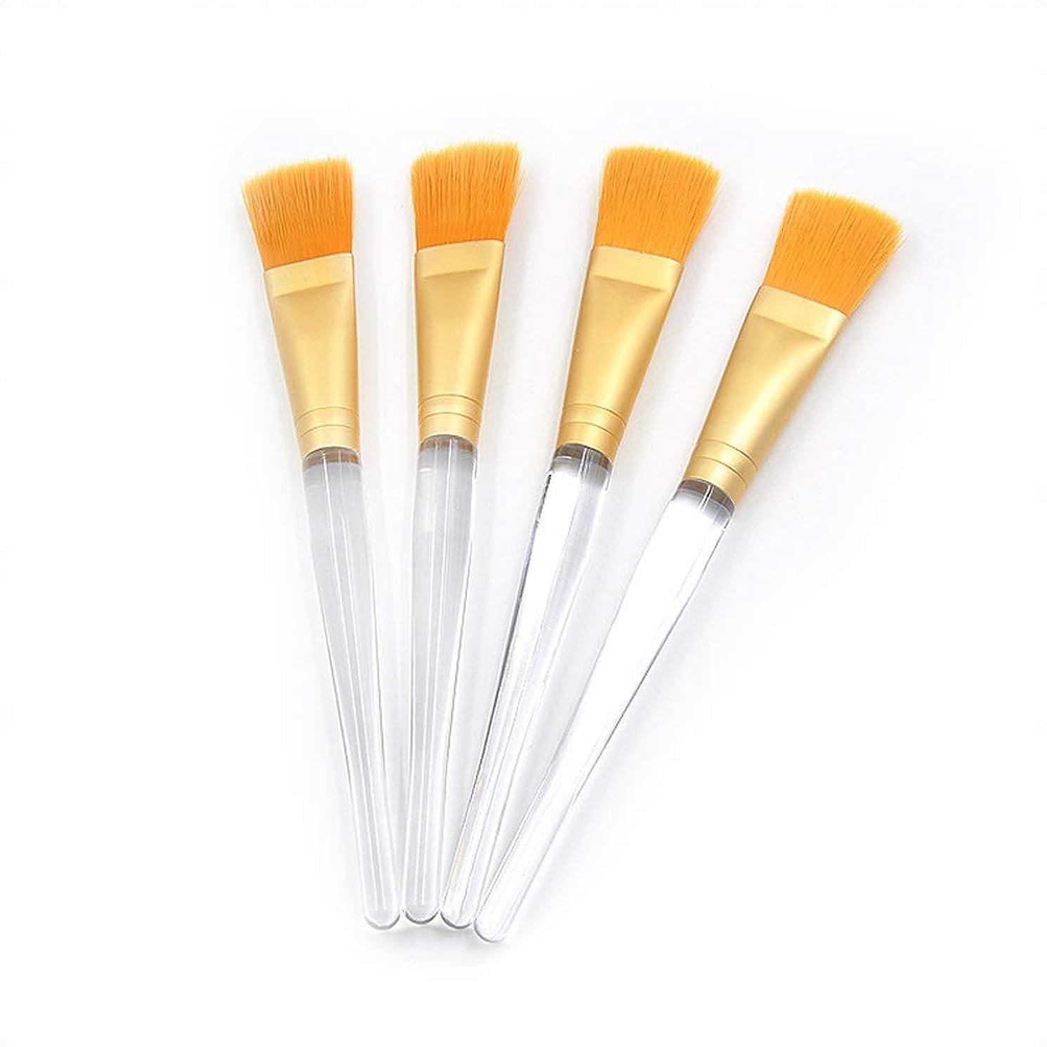 ピッチ拡散するまもなく化粧ブラシマスク美容ブラシDIY透明クリスタルプラスチックロッド化粧ブラシ(4個)
