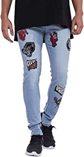 FUUROO Men's Embroidery Flower Floral Skinny Stretch Jeans