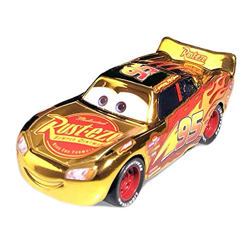 fashionmore Cars Toys Metallic Golden Lightning McQueen Speed Racer Diecast Toy Car 1:55 Loose Kid Toy Vehicles