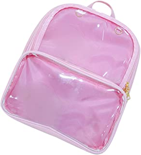 Jojck Women Girls Transparent Backpack Shoulder Bag Women Jelly Style PU Change Purse Schoolbag