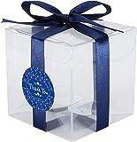 20pcs Cajas de regalo de Cube Cubierta de Crystal Mascotas, 8 x 8 x 8 cm, Caja fuerte de los alimentos, 0.3mm de espesor, con cinta de satén rosa y agradecimiento pegatinas, for bodas, ducha, favores