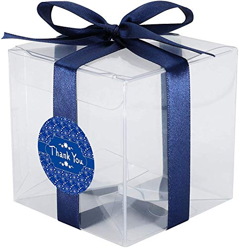 RENFEIYUAN 20 stücke Pet Crystal Clear Cube Geschenkboxen, 8 x 8 x 8 cm, Essensafe, 0,3 mm dick, mit rosa Satinband und Danke Aufkleber, for Hochzeit, Dusche, Party-Gefälligkeiten Geschenk Paket Box