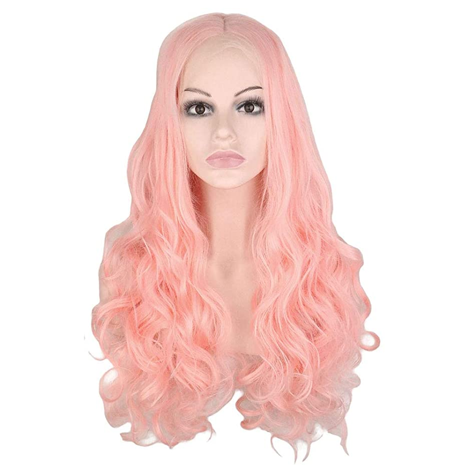 ハリケーン苦情文句許容ウィッグ つけ毛 26インチレースフロントウィッグブロンドピンクロングカーリーウェーブヘアウィッグミドルパートコスプレ衣装デイリーパーティーウィッグ本物の髪を持つ女性 (色 : Blonde Pink, サイズ : 26