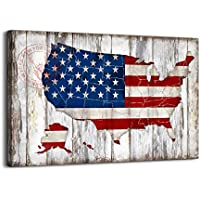 Vintage American Flag of US Map Canvas Wall Art (Small)