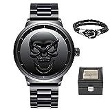 Reloj de Pulsera para Hombre, diseño de Calavera 3D Creativa, Color Negro, 30 m, Impermeable, Gran,...