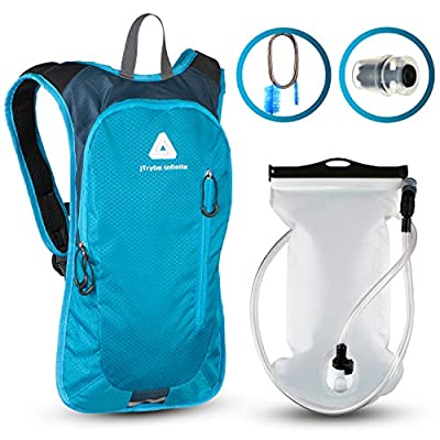 jTRYBE Water Backpack for Running, Biking with Hydration Bladder 2L. Awesome Water Backpack for Hiking. Bonus Bite Valve and Brush. Great Running Water Backpack for Women Men. Kids Hydration Backpack