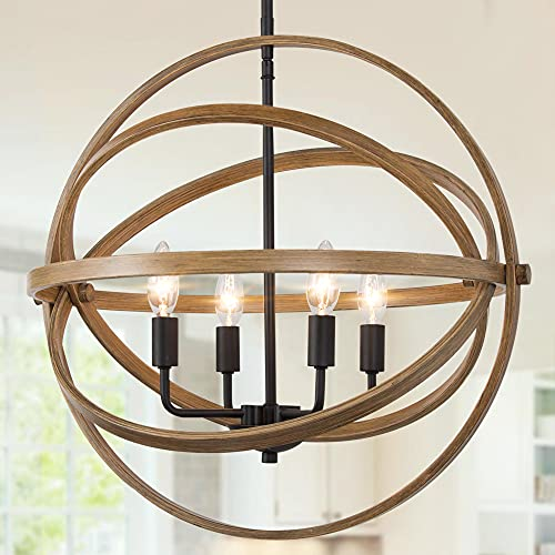 """LALUZ Farmhouse Chandelier for Dining Room, 4-Light Orb Chandelier Light Fixture for Kitchen Island, Wood Finish, 21"""" Dia"""