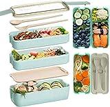 """""""N/A"""" 3 Fächern Lunchbox Bentobox Brotdose Kunststoffe Verperdose Grüne Brotbüchse für Kinder 18,8x8,3x11,2cm Essenbox für Kindergarten,Schule,Büro,Picknick"""