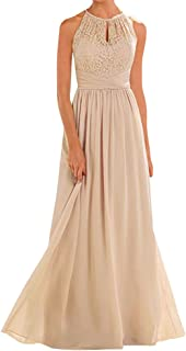 Women's Halter Lace A-Line Chiffon Floor-Length Bridesmaid Dress