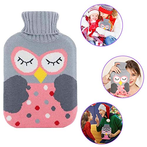 2L Wärmeflasche,Wärmflasche mit Bezug Fashy,Wärmflasche mit Bezug Flauschig,Wärmflasche tier,Wärmflasche mit Bezug Erwachsene,Waschbare Wärmflasche,Wärmflasche Groß (owl)