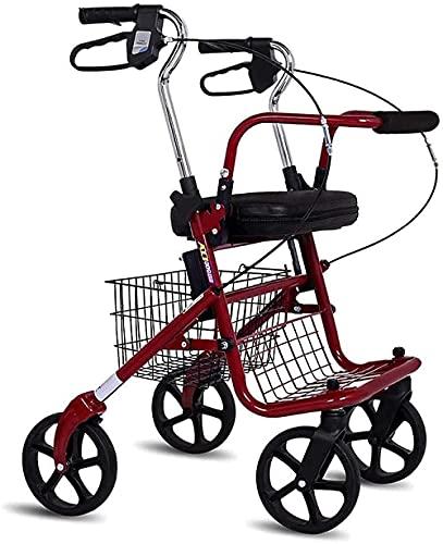 FHISD Selbstfahrende Senioren-Einkaufswagen können sitzen und können Push-Folded Rutschfester Walker Höhenverstellbare Einkaufs-Aufbewahrungsbox mit 100 kg Tragfähigkeit