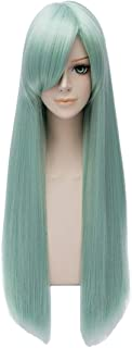 Max Beauty Straight Long Green Wigs With Bangs Heat Resistant Synthetic Fiber for Seven Deadly Sins for Cosplay for Halloween