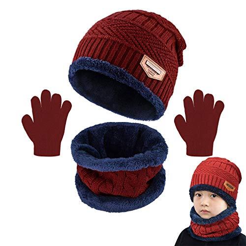CheChury Beanie Sciarpa e Guanti Bambino Cappello Sciarpa Inverno Invernali Cappelli Beanie Bambino...