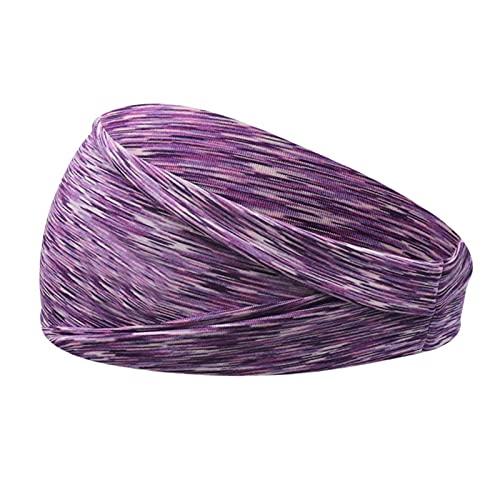 Yoga Stirnband 1 stück absorbierter Sport schweiß Stirnband Yoga Turban Haare Stretch rutschfeste elastische Sport headwrapps headwearzubehör □ (Color : Purple)
