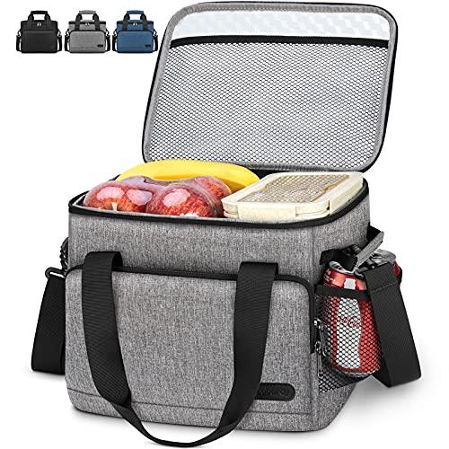Lubardy 15L Bolsa Isotermica Nevera Portatil Bolsa Termica Porta Alimentos Bolsa Nevera Pequeña para Camping Comida Playa Almuerzo Gris