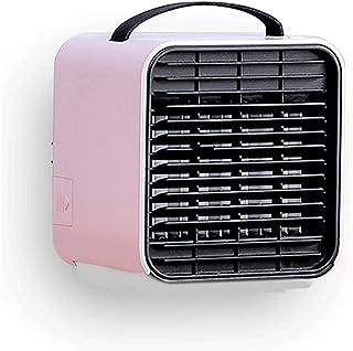Mini-luftkonditionering USB Liten luftkylare Bärbar skrivbord Kylfläkt Dubbla tankar Färgglada LED-lampor svala (Färg: Rosa)