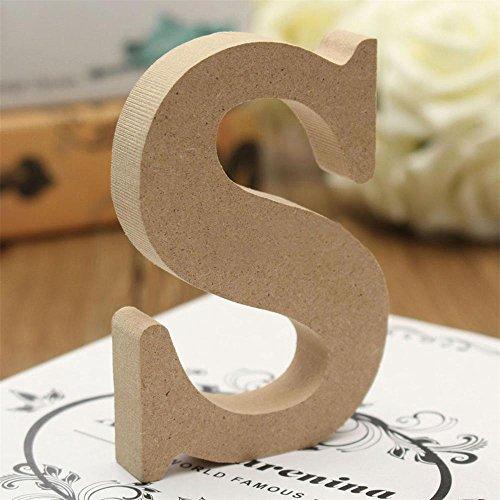 quanjucheer lettres de l'alphabet en bois, bois Craft Autonome lettres plaque Mariage Home Party Décor enfants jouet, Bois dense, bois, Small