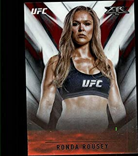 2017 Topps Chrome Fire UFC #UF-RR Ronda Rousey Official MMA Trading Card (Scan streaks are NOT on the card itself)