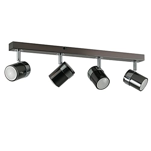 973ddc94d33 Modern 4 Way Straight Bar Ceiling Spotlight Fitting in a Black Chrome Finish
